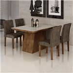 Conjunto Sala de Jantar Mesa Sevilha I Tampo de Vidro 4 Cadeiras Miami Cel Móveis