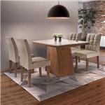 Conjunto Sala de Jantar Mesa Sevilha I Tampo de Vidro 4 Cadeiras Vitoria Cel Móveis Chocolate/Pena