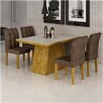 Conjunto Sala de Jantar Mesa Sevilha I Tampo de Vidro 4 Cadeiras Vitoria Cel Móveis Ypê/Animale
