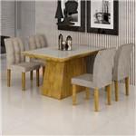 Conjunto Sala de Jantar Mesa Sevilha I Tampo de Vidro 4 Cadeiras Vitoria Cel Móveis Ypê/Pena 84