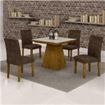 Conjunto Sala de Jantar Mesa Sevilha Tampo de Vidro 4 Cadeiras Classic Cel Móveis Ypê/Animale