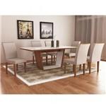 Conjunto Sala de Jantar Mesa Sofia Tampo Mdf/vidro 180cm Luna 6 Cadeiras Lunara Rufato