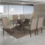 Conjunto Sala de Jantar Mesa Tampo de Vidro 180cm e 6 Cadeiras Olímpia Ype - Leifer