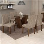 Conjunto Sala de Jantar Mesa Tampo de Vidro 6 Cadeiras Classic Cel Móveis Chocolate/Pena 84