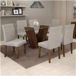 Conjunto Sala de Jantar Mesa Tampo de Vidro 6 Cadeiras Classic Cel Móveis Chocolate/Suede Cinza 90