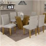 Conjunto Sala de Jantar Mesa Tampo de Vidro 6 Cadeiras Classic Cel Móveis Ypê/Suede Cinza 90