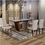Conjunto Sala de Jantar Mesa Tampo de Vidro 6 Cadeiras Viggor Cel Móveis Chocolate/Suede Cinza 90