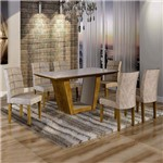 Conjunto Sala de Jantar Mesa Tampo de Vidro 6 Cadeiras Viggor Cel Móveis Ypê/Pena 84