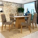 Conjunto Sala de Jantar Mesa Tampo de Vidro Branco 6 Cadeiras Málaga Leifer