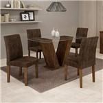 Conjunto Sala de Jantar Mesa Tampo de Vidro e 4 Cadeiras Classic Cel Móveis Chocolate/Animale
