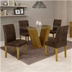 Conjunto Sala de Jantar Mesa Tampo de Vidro e 4 Cadeiras Classic Cel Móveis Ypê/Animale Marrom 52