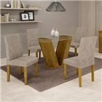 Conjunto Sala de Jantar Mesa Tampo de Vidro e 4 Cadeiras Classic Cel Móveis Ypê/Pena 84