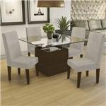 Conjunto Sala de Jantar Mesa Tampo de Vidro e 4 Cadeiras Salvia Kappesberg Marrom Walnut/Bege