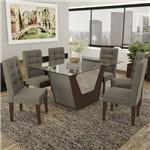 Conjunto Sala de Jantar Mesa Tampo de Vidro e 6 Cadeiras Verbena Kappesberg Marrom Walnut