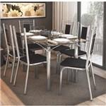Conjunto Sala de Jantar Mesa Tampo de Vidro Elba e 6 Cadeiras Florença Crome Kappesberg