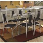 Conjunto Sala de Jantar Mesa Tampo de Vidro Loire e 6 Cadeiras Florença Crome Kappesberg