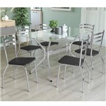 Conjunto Sala de Jantar Mesa Tampo de Vidro Loire e 6 Cadeiras Portugal Crome Kappesberg