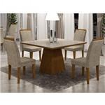 Conjunto Sala de Jantar Mesa Tampo de Vidro Luna 4 Cadeiras Athenas Rufato Imbuia/Off White/Suede