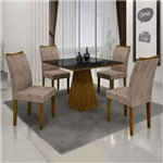 Conjunto Sala de Jantar Mesa Tampo de Vidro Preto 4 Cadeiras Pampulha Leifer Canela/Preto/Capuccino
