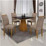 Conjunto Sala de Jantar Mesa Tampo de Vidro Preto 4 Cadeiras Pampulha Leifer Imbuia