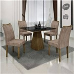 Conjunto Sala de Jantar Mesa Tampo de Vidro Preto 4 Cadeiras Pampulha Leifer Ype/Preto/Capuccino