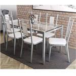 Conjunto Sala de Jantar Mesa Tampo de Vidro Reno e 6 Cadeiras Florença Crome Kappesberg