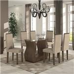 Conjunto Sala de Jantar Mesa Tampo em Vidro 160cm 6 Cadeiras Dafne Móveis Lopas Imbuia Soft/Rinzai