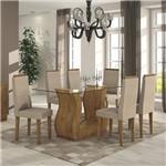 Conjunto Sala de Jantar Mesa Tampo em Vidro 160cm 6 Cadeiras Dafne Móveis Lopas Rovere Soft/Rinzai