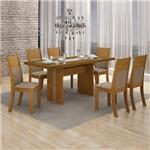 Conjunto Sala de Jantar Mesa Tampo Mdf 155cm e 6 Cadeiras Hawai Leifer Imbuia/linho Bege