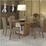 Conjunto Sala de Jantar Mesa Tampo MDF 180cm 6 Cadeiras Apogeu Móveis Lopas Rovere Soft/Animale