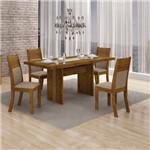 Conjunto Sala de Jantar Mesa Tampo MDF 4 Cadeiras Hawai Leifer Canela/Linho Bege