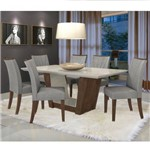 Conjunto Sala de Jantar Mesa Tampo Mdf 6 Cadeiras Apogeu Móveis Lopas Imbuia/rinzai Cinza