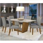 Conjunto Sala de Jantar Mesa Tampo Mdf 6 Cadeiras Apogeu Móveis Lopas Rovere/linho Cinza