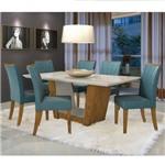Conjunto Sala de Jantar Mesa Tampo Mdf 6 Cadeiras Apogeu Móveis Lopas Rovere/rinzai Azul