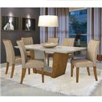 Conjunto Sala de Jantar Mesa Tampo Mdf 6 Cadeiras Apogeu Móveis Lopas Rovere/rinzai Bege