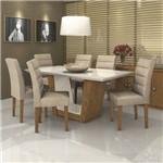Conjunto Sala de Jantar Mesa Tampo MDF Apogeu II 6 Cadeiras Fiorella Móveis Lopas Rovere/Rinzai