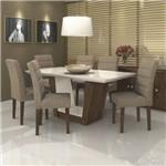 Conjunto Sala de Jantar Mesa Tampo MDF Off White Apogeu 6 Cadeiras Fiorella Móveis Lopas Imbuia