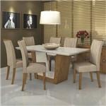 Conjunto Sala de Jantar Mesa Tampo MDF Total Off White 6 Cadeiras Apogeu Móveis Lopas Rovere