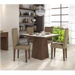 Conjunto Sala de Jantar Mesa Tampo Mdf/vidro 100cm Nevada 4 Cadeiras Dafne Tc Suede Bege-imbuia