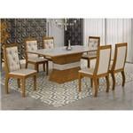 Conjunto Sala de Jantar Mesa Tampo MDF/Vidro 180 Quina Reta 6 Cadeiras Clarice Rufato Imbuia/Off