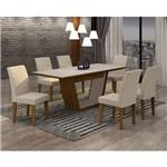 Conjunto Sala de Jantar Mesa Tampo MDF/Vidro 180cm e 6 Cadeiras Alice Rufato Imbuia/Off