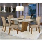 Conjunto Sala de Jantar Mesa Tampo MDF/Vidro 6 Cadeiras Apogeu IV Móveis Lopas Rovere/Rinzai Bege