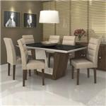 Conjunto Sala de Jantar Mesa Tampo MDF/Vidro Branco Preto Apogeu 6 Cadeiras Fiorella Móveis Lopas