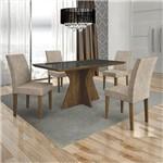 Conjunto Sala de Jantar Mesa Tampo Mdf/vidro Creta e 4 Cadeiras Olímpia Ype - Leifer