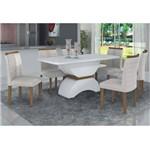 Conjunto Sala de Jantar Mesa Tampo MDF/Vidro e 6 Cadeiras Atenas Leifer Branco/Imbuia Mel/ Linho
