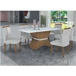 Conjunto Sala de Jantar Mesa Tampo MDF/Vidro e 6 Cadeiras Atenas Leifer Imbuia Mel/Branco/Pena