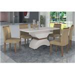 Conjunto Sala de Jantar Mesa Tampo MDF/Vidro e 6 Cadeiras Atenas Leifer Off White/Imbuia/Veludo
