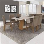 Conjunto Sala de Jantar Mesa Tampo MDF/Vidro e 6 Cadeiras Gênova Leifer Imbuia Mel/Off