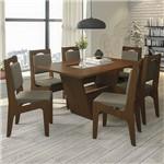 Conjunto Sala de Jantar Mesa Tampo MDF/Vidro e 6 Cadeiras Vazadas Zattar Kappesberg Marrom Walnut