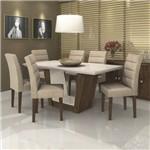 Conjunto Sala de Jantar Mesa Tampo MDF/Vidro Off White 180cm Apogeu 6 Cadeiras Fiorella Móveis